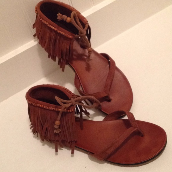 df98980efed MIA Native Suede Fringe Thong Sandals